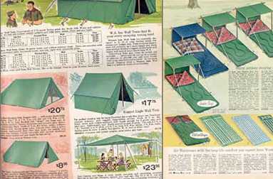 old camping gear ad