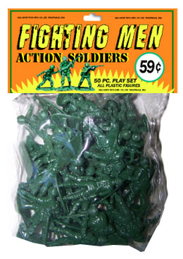 plastic army men in bag