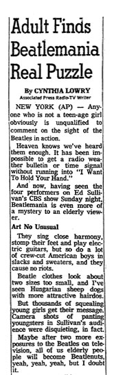 Beatle article, oregonian 1964