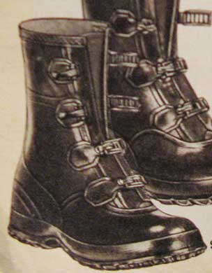 rubber boots with clasps